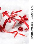 christmas gift with tapes  new... | Shutterstock . vector #38290171