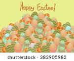 happy easter card poster with... | Shutterstock . vector #382905982