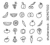 icons of fruits  vegetables a... | Shutterstock .eps vector #382907032