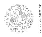 happy easter line icons set... | Shutterstock .eps vector #382911835