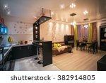 cozy apartment in beige tones.... | Shutterstock . vector #382914805
