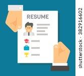 flat design hand holding resume ... | Shutterstock .eps vector #382916602