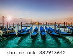 Gondolas In Venice Sunset View...