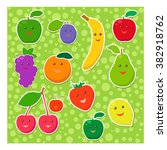 set of cheerful fruit on a... | Shutterstock .eps vector #382918762