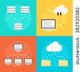 cloud computing  data transfer  ... | Shutterstock .eps vector #382920382