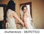 portrait of beautiful bride... | Shutterstock . vector #382927522