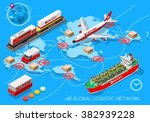 global logistic isometric... | Shutterstock .eps vector #382939228