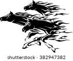 Three Flaming Horses Abstract