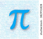 blue pi number with a shadow on ... | Shutterstock .eps vector #382951828