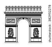 french arc de triomphe in black ...   Shutterstock . vector #382952278