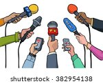 cartoon media interview on a... | Shutterstock .eps vector #382954138