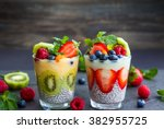 layered berry and chia seeds... | Shutterstock . vector #382955725