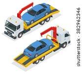 tow truck isometric. vector tow ... | Shutterstock .eps vector #382962346