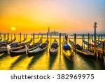 gondolas in venice   with san... | Shutterstock . vector #382969975