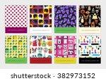 set of eight seamless pattern...   Shutterstock .eps vector #382973152