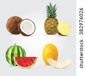 polygonal fruits. coconut ... | Shutterstock .eps vector #382976026