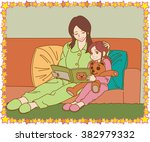the young mother and daughter...   Shutterstock .eps vector #382979332