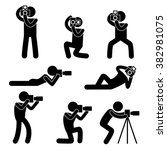 set of eight photography... | Shutterstock .eps vector #382981075