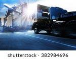container truck   freight cargo ... | Shutterstock . vector #382984696