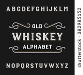 old whiskey alphabet font.... | Shutterstock .eps vector #382985152