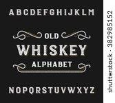 old whiskey alphabet font.... | Shutterstock .eps vector #382985152