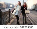 concept of women shopping ... | Shutterstock . vector #382985605