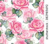 watercolor roses 2. seamless... | Shutterstock . vector #382985692