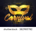 golden carnival mask ... | Shutterstock .eps vector #382985782