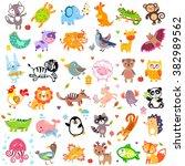 illustration of cute animals ... | Shutterstock . vector #382989562