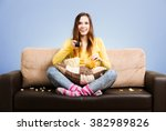 young woman spends his free... | Shutterstock . vector #382989826