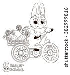 easter bunny on a bike carrying ... | Shutterstock . vector #382999816