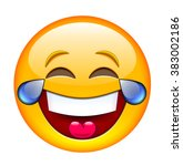 laughing emoticon with tears.... | Shutterstock .eps vector #383002186