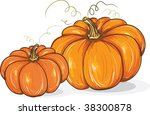two pumpkins   freehand style... | Shutterstock .eps vector #38300878