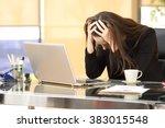 desperate businesswoman on line ... | Shutterstock . vector #383015548