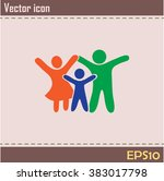 happy family icon in simple... | Shutterstock .eps vector #383017798