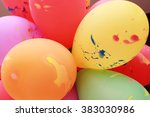 colorful balloons floating on... | Shutterstock . vector #383030986