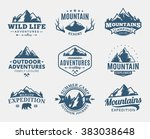 set of vector mountain and... | Shutterstock .eps vector #383038648
