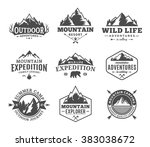 Set of vector mountain and outdoor adventures logo. Tourism, hiking and camping labels. Mountains and travel icons for tourism organizations, outdoor events and camping leisure. | Shutterstock vector #383038672