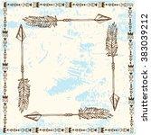 arrow frame in boho style  ... | Shutterstock .eps vector #383039212