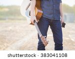 male with acoustic guitar... | Shutterstock . vector #383041108