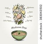 sketched mushroom soup... | Shutterstock .eps vector #383043502