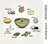 mushroom soup ingredients list | Shutterstock .eps vector #383043802