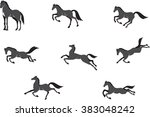 Stock vector horses in different poses vector set isolated on white 383048242