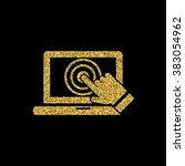 laptop screen touch icon  gold...