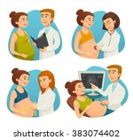 pregnancy   pregnant woman and... | Shutterstock .eps vector #383074402
