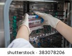 scientists are collect bottles ... | Shutterstock . vector #383078206