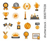 trophy and awards icons set  | Shutterstock . vector #383079328