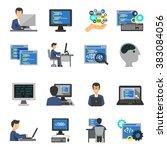 programmer icons flat set   Shutterstock . vector #383084056