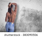 young african girl with naked... | Shutterstock . vector #383090506