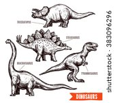 Hand Drawn Dinosaurs Set Black...
